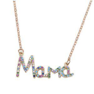 Mama Rainbow Colored Pave Rhinestone Necklace